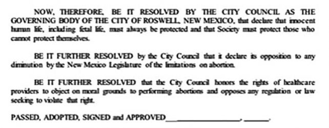 BREAKING: ROSWELL, NM BECOMES A SANCTUARY CITY FOR THE UNBORN!